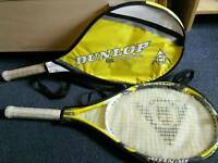 2 dunlop 5 hundred twenty 7 tennis rackets with cases (set)