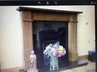 Solid Oak fireplace.