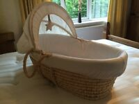 Mothercare Moses Basket - with mattress, detachable hood/shade, 3 fitted sheets and teddy blanket