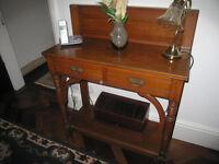 Antique console table in oak.