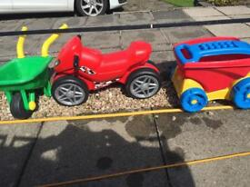Outdoor toys motorbike wheelbarrow and mega blox pull along