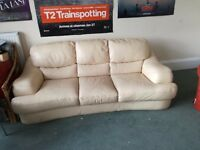 Modern large 3 seater cream leather couch suite