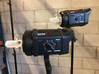 2 X Bowens Gemini GM400 Flash Heads + Stands - Photography Studio Lighting Lights