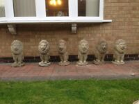 Pride of concrete lions, garden wall ornaments x 6, approx 16inches high