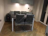 Brand New Mobo Grey Expanding Glass Dining Table & Chairs