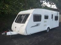 Swift Charisma 565 2010 Fixed Triple Bunk Beds 6 Berth Caravan + Porch Awning