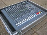 SOUNDCRAFT SPIRIT LIVE 42 MIXER WITH FLIGHTCASE & POWER SUPPLY
