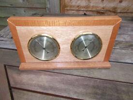 Vintage wood mounted barometer