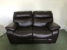 Dark Brown 2 seater leather recliner sofa