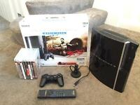 PlayStation 3 80gb with 8 games, controller, Bluetooth headset, remote control and original box