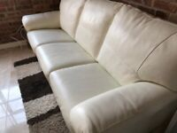 DFS 3 Seater white leather sofa bed