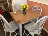 Small dining table & 4 chairs, real wood top
