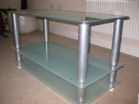 Modern frosted glass/stainless steel TV stand (good quality, in great condition)