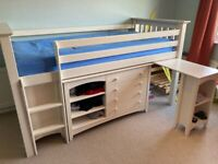 Cabin bed with drawers, shelves, mini wardrobe & desk. Very good condition