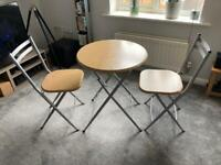 SOLD**Small Foldable Table & Chairs - Metal/Wood