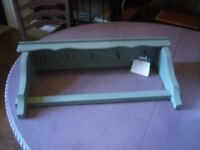 LOVELY FRENCH PAINTED HANGING SHELF FOR CUPS/KITCHEN TOOLS ETC