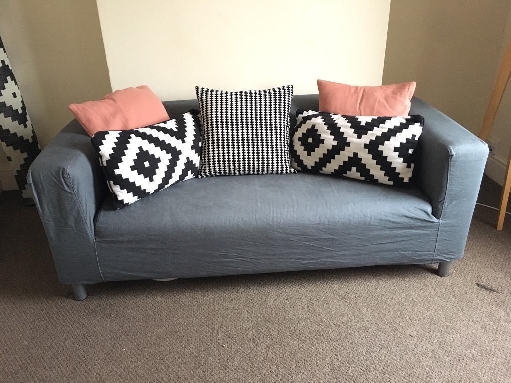 compact 2 seat sofa klippan flackarp grey free in. Black Bedroom Furniture Sets. Home Design Ideas