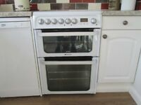 """Hotpoint HUE61P S Electric Cooker with Double Oven and """"Stay Clean"""" liners 60cms wide"""