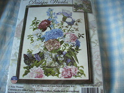 """Counted cross stitch kit, Bouquet with Cat, #2908, Design Works, 14"""" x 19"""""""