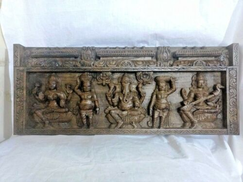 Ganesh Lakshmi Saraswathi Hindu God Wooden Temple Panel Statue Sculpture Figure