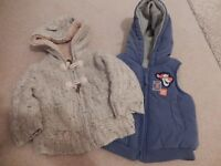 Baby gillet and fleece cardigan/jacket - age 6-9 months