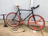 single speed or fixed bike with Kryptonite u-lock and pump