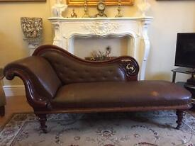 Victorian mahogany and rexine chaise lounge