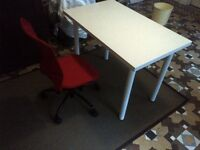 small desk or table with red desk chair all in excellent condition can deliver locally