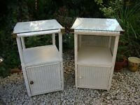Two Classic Lloyd Loom Bedside Cabinets.