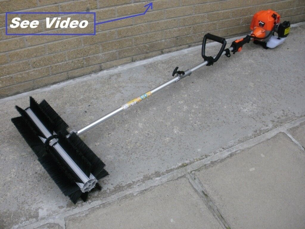Rotary Broom Sweeper : Rotating sweeper brush snow blower leaves road path washer