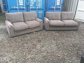 DFS Zuma Fabric Range off grey purple 3 seater sofa with two seater sofa set RRP £1295