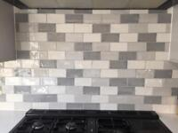 Crackle glaze metro wall tiles white and grey