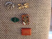 Old broches and cent bottle
