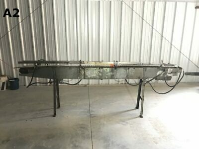 Slat Top Stainless Chain Powered Belt Conveyor 110x4x35 W Stainless Frame