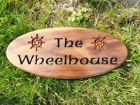 Personalised wooden engraving, your messages & designs on wood. Signs, house names, wedding gifts