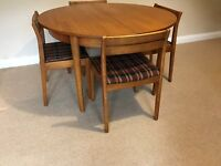 Retro 1970's Teak Dining Table & 4 Matching Chairs