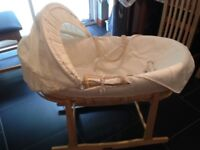 "Cream cotton ""Teddy"" Moses basket and rocking stand"