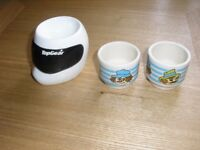 Three collectable ceramic egg cups: Top Gear and Hornsea, toffee & mallow.