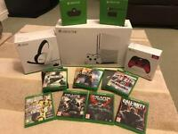 XBOX ONE S (LIMITED EDITION 2TB) WITH ACCESSORIES & 7 GAMES.