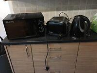Russel Hobbs kitchen bundle microwave toaster kettle black