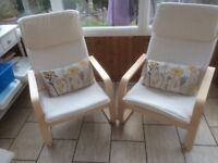 2 Ikea cream canvas chairs