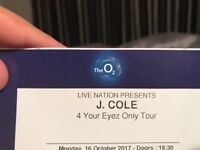 J COLE 16th October London O2 Arena - seated block 110! 2 tickets!