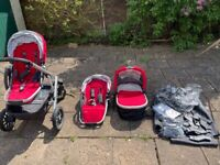 Uppababy Vista double pram and carrycot