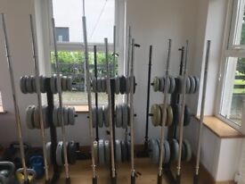 13 full bodypump set with 3 weights racks included
