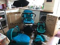 Turquoise Quinny Capri Buggy, Dreami Buzz carrycot and Maxi Cosi car seat