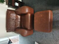 Browm Leather 3 seater settee plus chair and foot stool