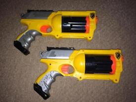 2x Nerf N-Strike Pistols, no darts unfortunately but in full working order.