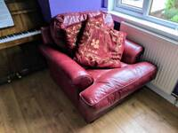 Soft red real leather armchair