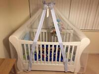 Troll Sleigh Cot in white