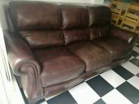 Brown leather sofa, traditional style, DFS